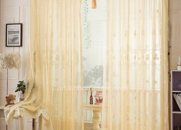 Classical Sheer Curtain Beige Color Lace