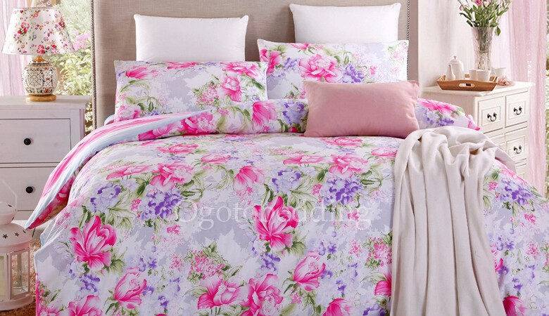 Clearance High Quality Pink Floral Country Comforter Sets