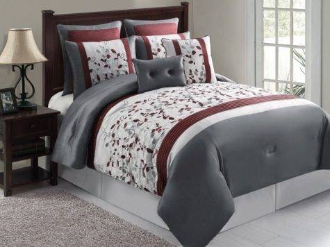 Clearance Luxury Bedding Set Olivia Silver Maroon