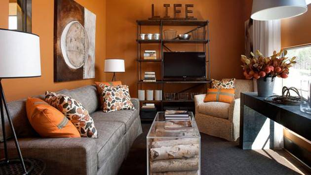 Close Fruity Orange Living Room Designs Home