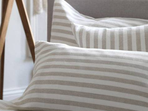 Coastal Stripe Natural Linen Bedding Set Secret