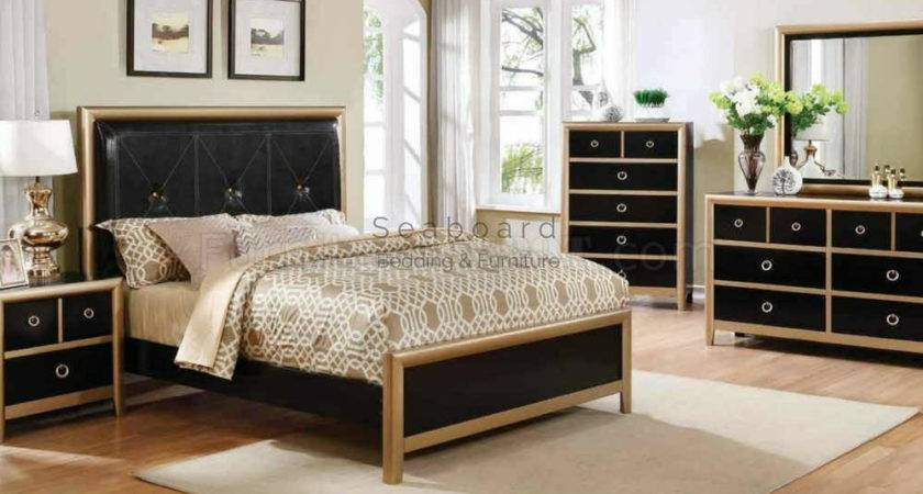 Coaster Zovatto Black Gold Queen Bedroom Set