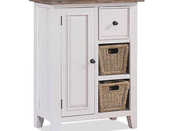 Coffee Cabinet Basket Distressed Blue White Cotton