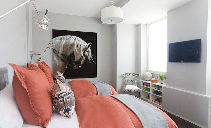 Color Scheme Coral Grey Eclectic Living Home