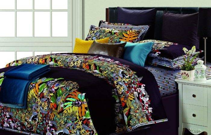 Colorful Comforter Sets Queen Open Glass Wall Bedroom