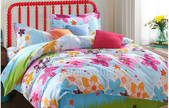 Colorful Floral Funky Quality Cheap Kids Bedding Sets