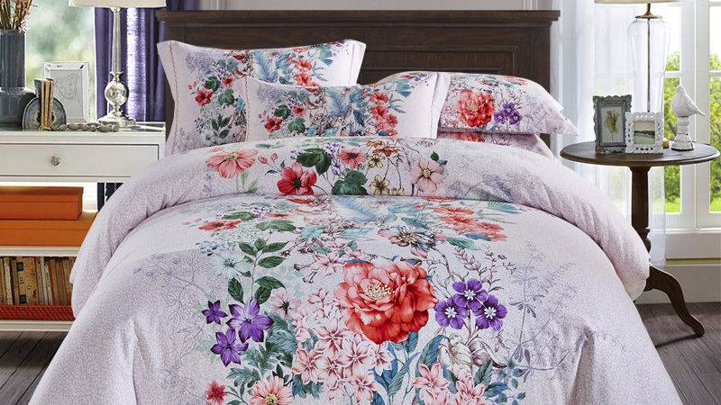 Colorful Floral Print Bedding Set Queen King Bed