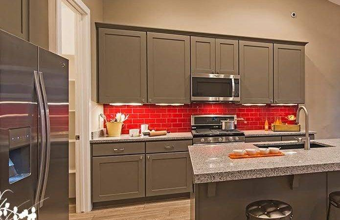 Colorful Red Backsplash Grey Cabinets Kitchen Design