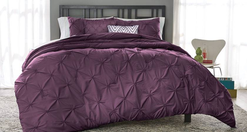 Colormate Solid Pintuck Comforter Set Plum Home Bed