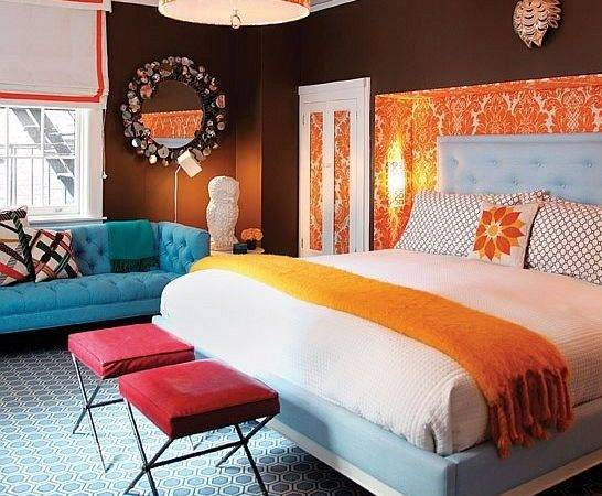 Colors Blue Orange Brown White Crimson Bedroom