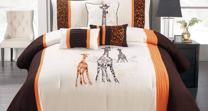 Comforter Set Brown Orange Giraffe Cotton Touch