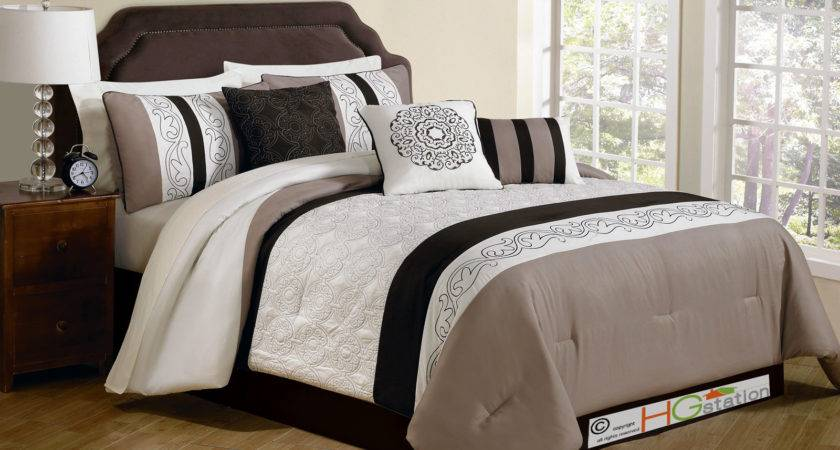 Comforter Set Quilted Embroidery Royal Floral Damask