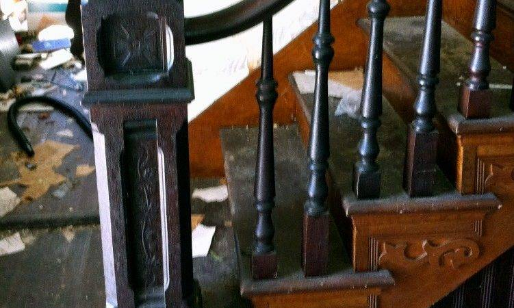 Complete Antique Staircase Walnut Handrail Large