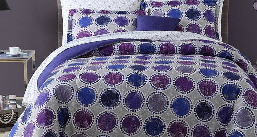 Complete Comforter Bedding Set Circles Dots Blue