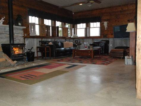 Concrete Floor Home Eclectic Living Room Columbus