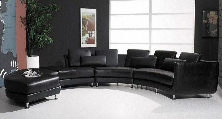 Contemporary Black Sectional Leather Sofa Couch Modern