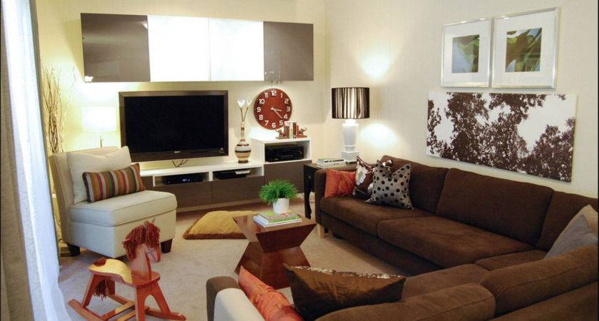 Contemporary Decor Familyroom Brown Couch Just Decorate