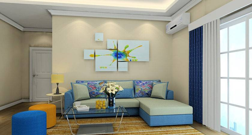 Contemporary Design Living Room Blue Sofa Twipik