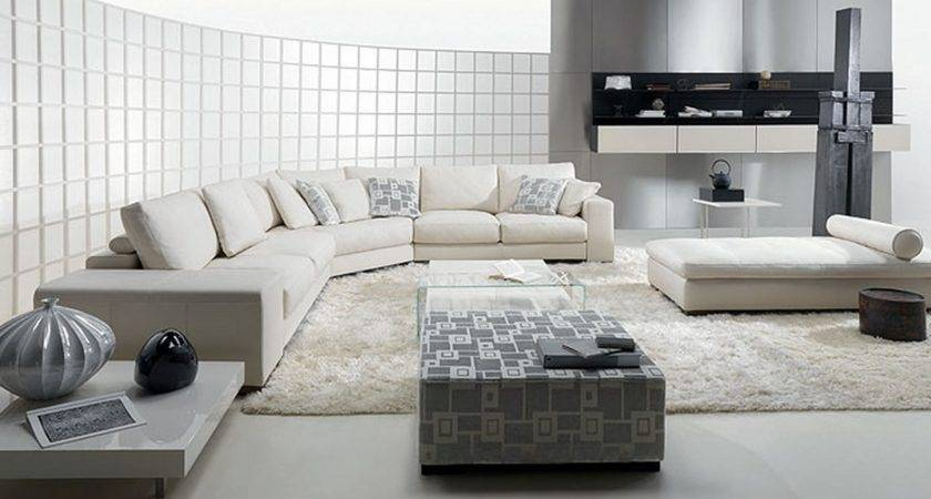 Contemporary Domino Living Room White Leather Sofa