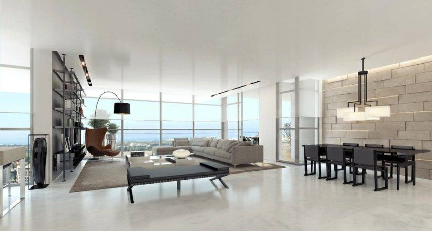 Contemporary Gray White Living Room Interior Design Ideas