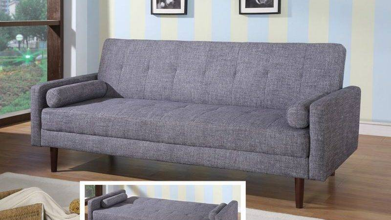 Contemporary Grey Orange Fabric Sofa Sleeper Hardwood