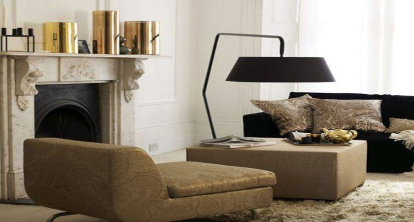 Contemporary Lamps Living Room Brown Gold