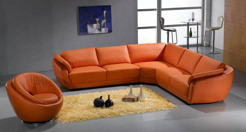Contemporary Leather Sectional Sofa Orange Color