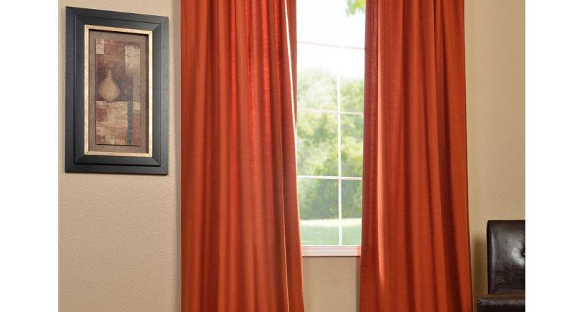 Contemporary Living Room Burnt Orange Curtains Panels