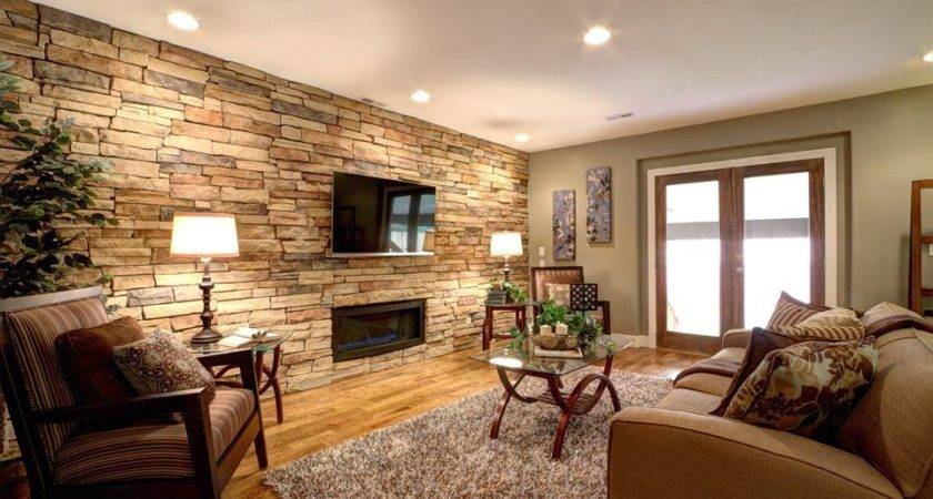 Contemporary Living Room Stone Fireplace Crown