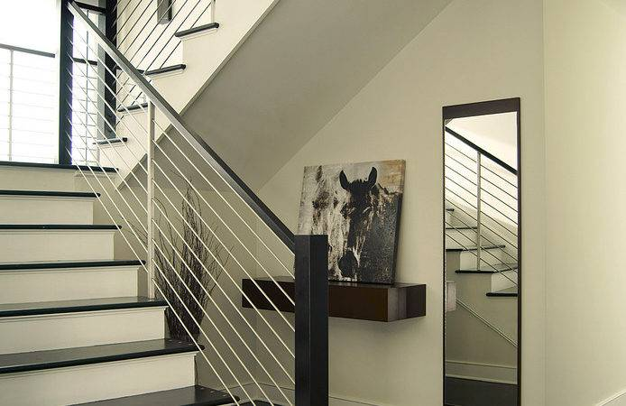 Contemporary Stair Railing Hall Beige