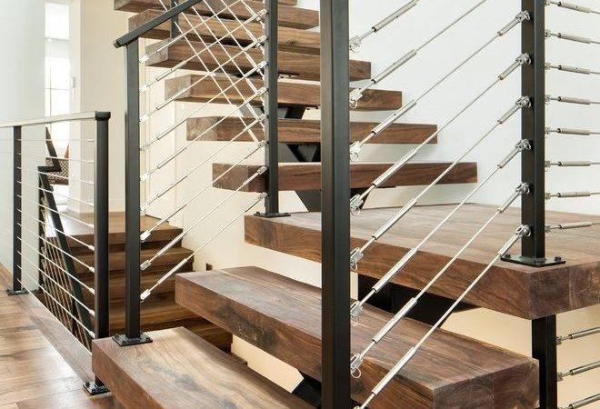 Contemporary Stair Railing Staircase Dark Wood Stairs