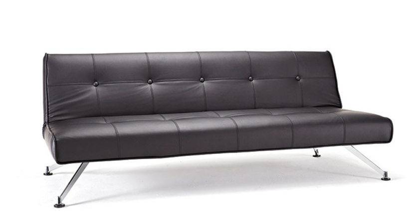 Contemporary Tufted Black Leather Sofa Bed Chrome Legs