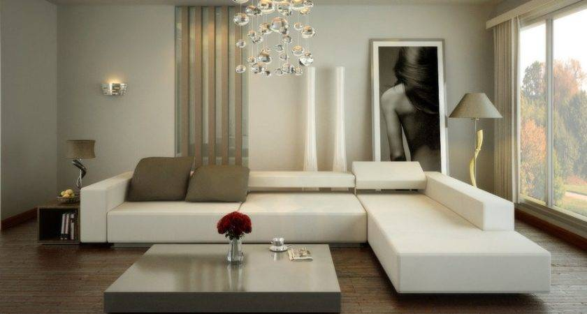 Contemporary White Living Room Interior Design Ideas