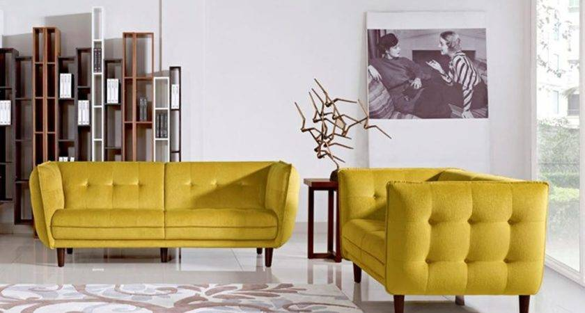 Contemporary Yellow Fabric Tufted Sofa Set Wooden