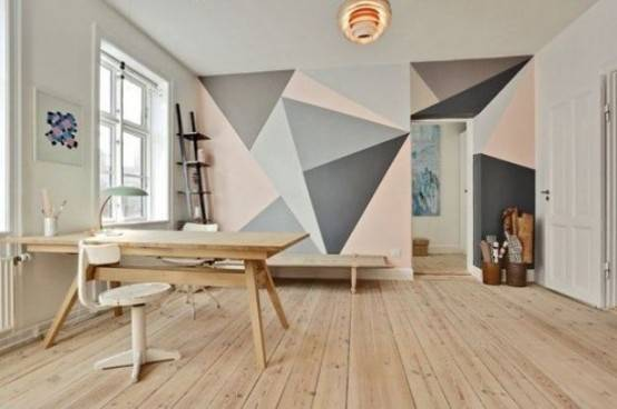 Cool Ways Decorate Your Room Geometric Wall Design