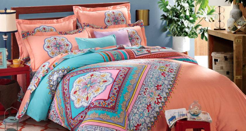 Coral Blue Bohemian Pattern Bedding Set Twin Bed