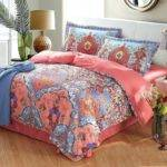 Coral Print Bedding Feather Sheet Set