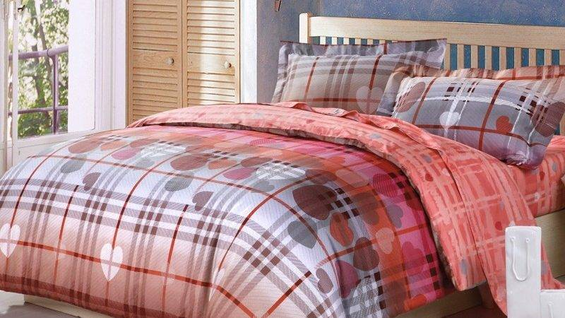 Coral Red Brown Gray Country Plaid Victorian Heart