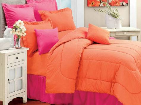 Coral Solid Color Orange Twin Single Bedding Comforter