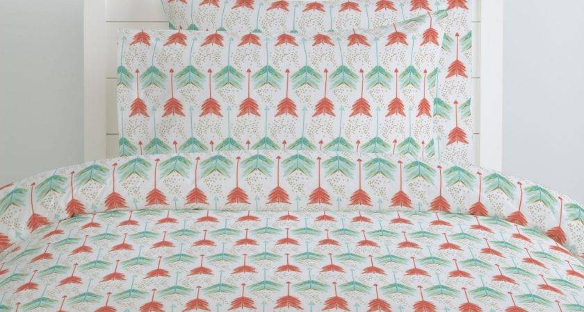 Coral Teal Arrows Duvet Cover Carousel Designs