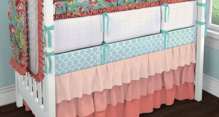 Coral Teal Floral Collection Nursery Idea