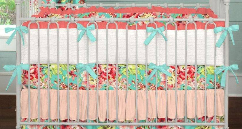 Coral Teal Floral Crib Bedding Girl Baby