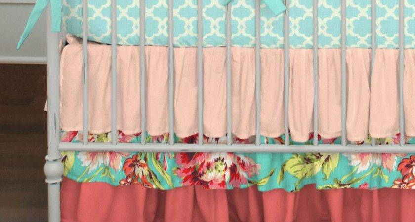 Coral Teal Floral Crib Skirt Three Tier Carousel Designs