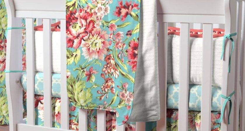 Coral Teal Floral Piece Mini Crib Bedding Set