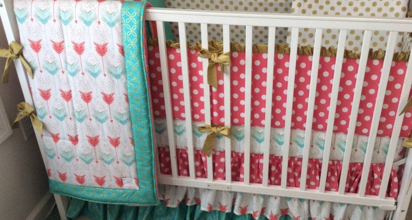 Coral Teal Gold Ruffled Crib Bedding