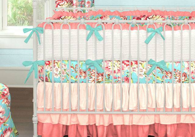Coral Teal Ombre Nursery Contemporary