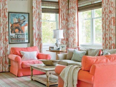 Coral Turquoise Living Room