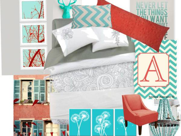 Coral Turquoise Room Polyvore
