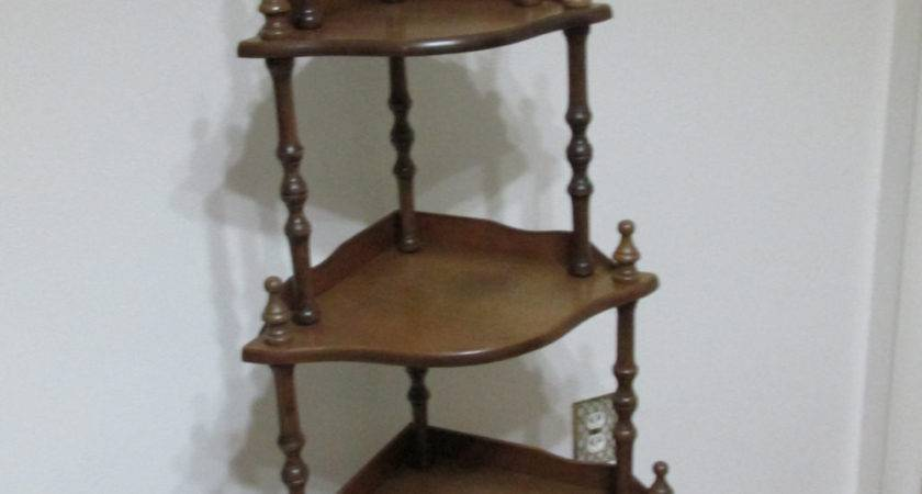 Corner Shelf Vintage Wood Tier Stand Assemble Required