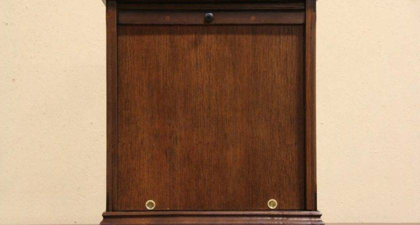 Countertop Oak Showcase Display Cabinet Roll Top